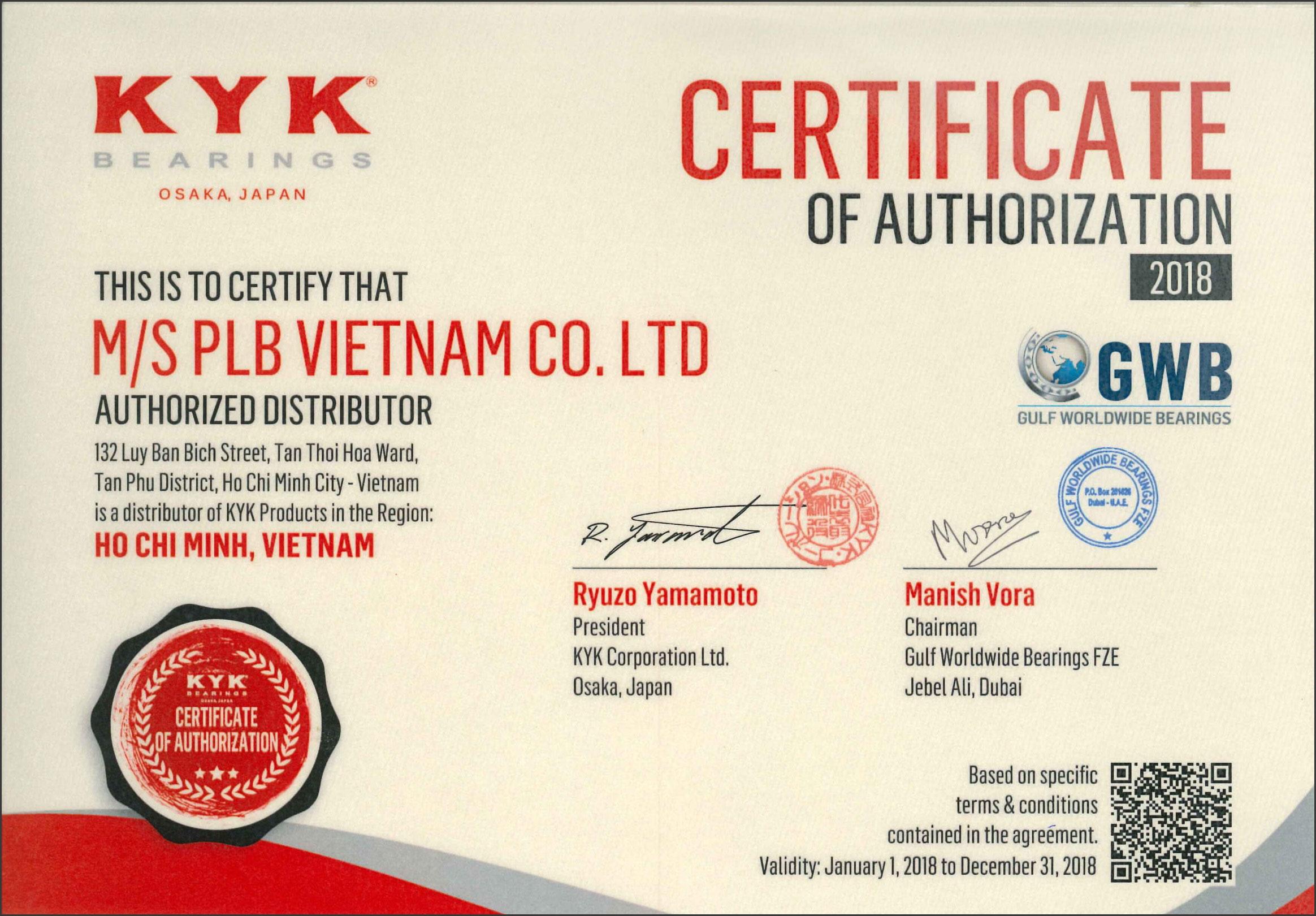 Giấy chứng nhận nhà phân phối của thương hiệu vòng bi KYK