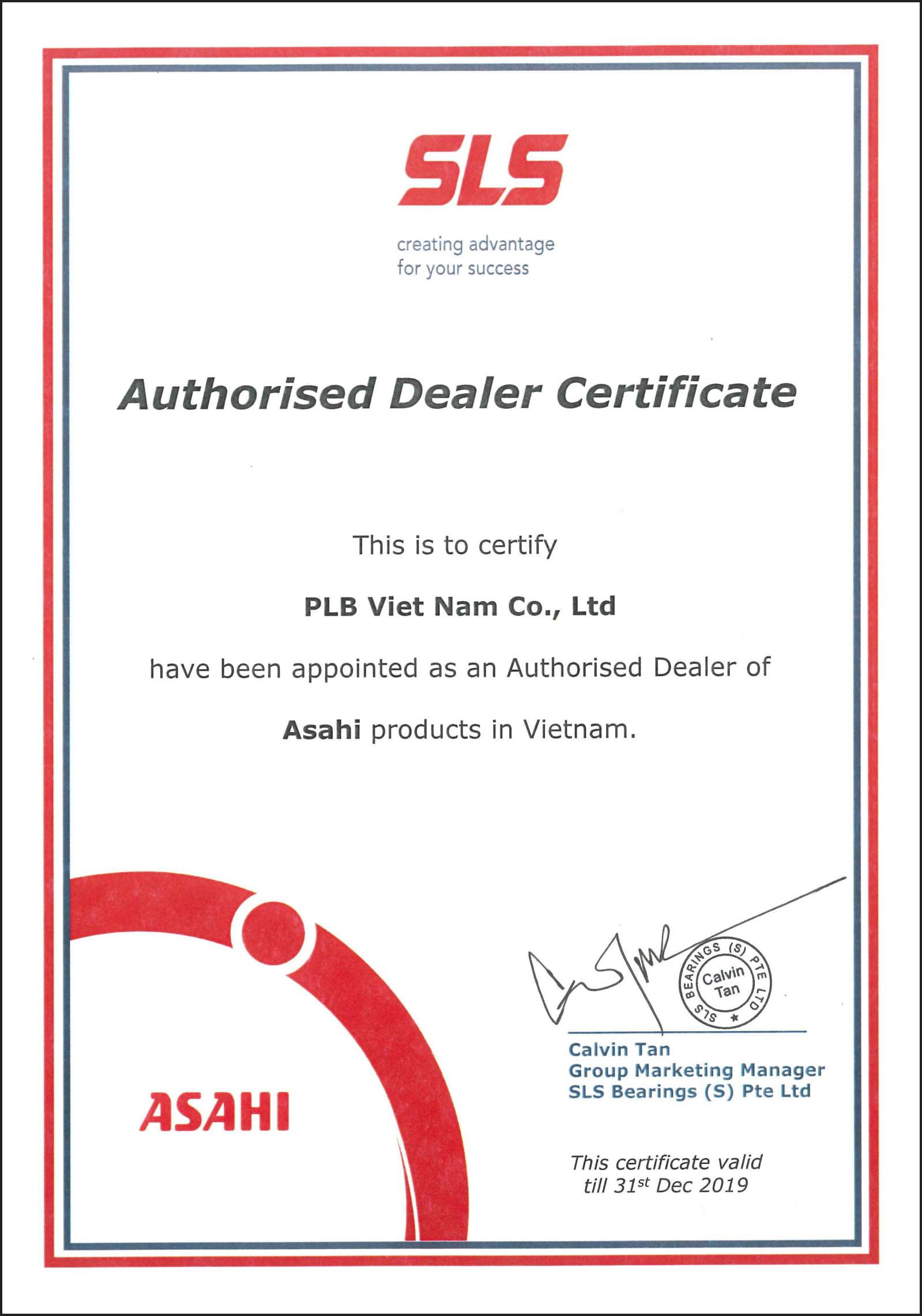 Giấy chứng nhận nhà phân phối của thương hiệu vòng bi, gối đỡ Asahi