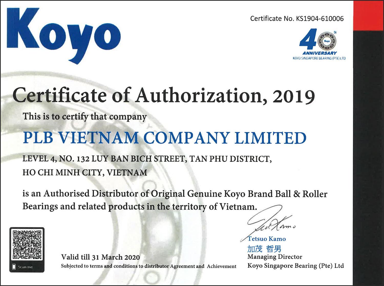 >Giấy chứng nhận nhà phân phối của thương hiệu vòng bi Koyo
